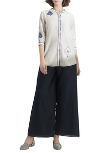 Embroidered shirt with shibori work