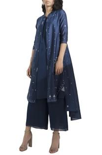 Asymmetric jacket with inner kurta & palazzo pants