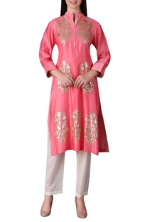 Sequin work chanderi silk kurta