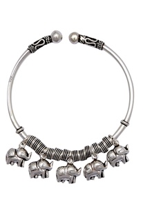Elephant pendants cuff bracelet