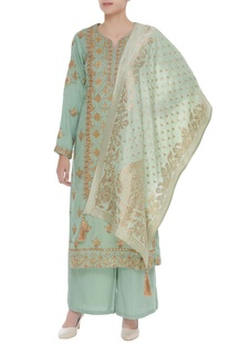 Gota embroidered kurta set with banarasi dupatta