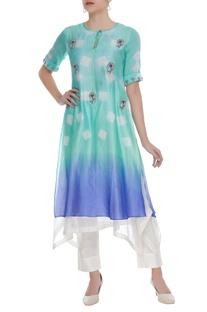 Hand embroidered layered tie dye kurta
