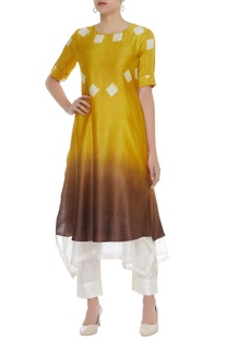 Tie dye hand embroidered layered kurta