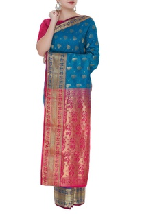 Self woven banarasi sari with unstitched blouse