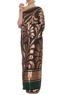 Handloom katan silk sari with unstitched blouse