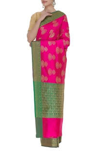 Handloom banarasi silk saree with unstitched blouse