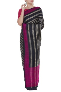 Striped kattan silk sari with unstitched blouse