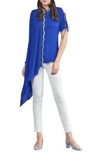 Asymmetric draped blouse