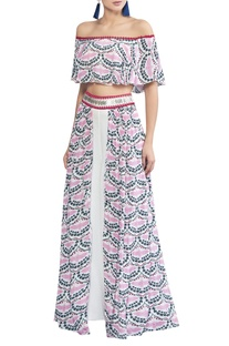 Crane printed off shoulder blouse with pants