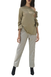 Checkered top with stripe pants