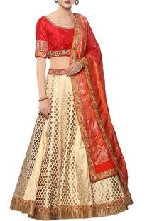 Banarasi silk lehenga set with dabka work