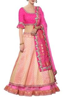 Leheriya lehenga with bandhej blouse & dupatta
