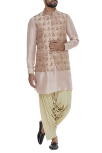 Embroidered raw silk bundi jacket