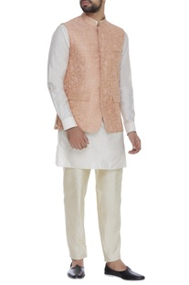Raw silk embroidered nehru jacket