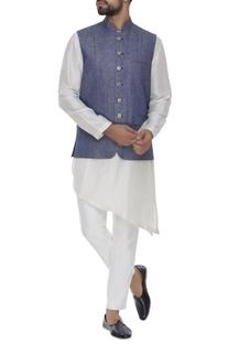 Denim  nehru jacket with silver buttons