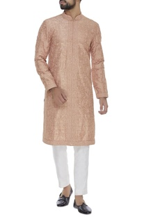 Paisley embroidered silk kurta