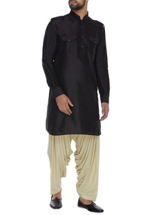 Spun silk kurta  with folded band collar