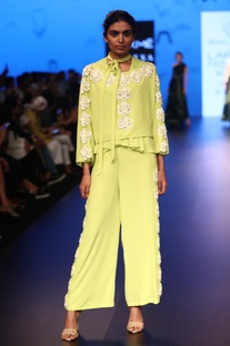 Neon floral lace palazzos