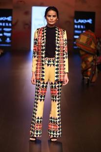 Satin printed formal jacket