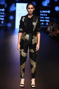 Raw silk foil printed blazer
