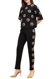 Neoprene floral & polka dot embroidered blouse