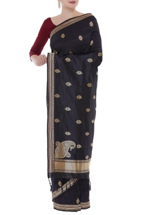 Buti embroidered handwoven sari with unstitched blouse