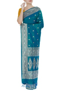 Jaal embellished handwoven sari with unstitched blouse