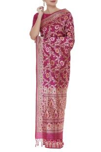 Gold jaal embellished handwoven  sari