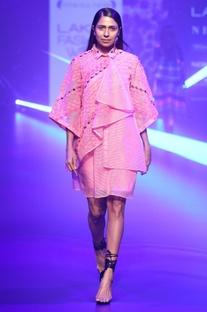 Mesh applique & embellished jacket dress