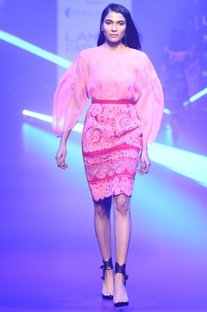 Mesh floral applique skirt