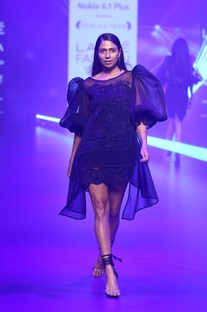 Mesh & organza puff sleeved dress