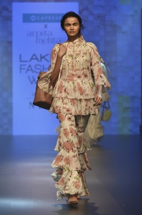 Ruffle embroidered top with tiered sharara