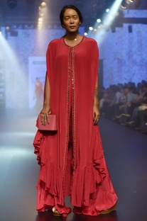 Mirror work cape kurta with pants