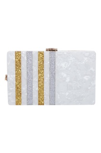 Glitter striped box clutch