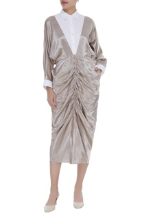 Draped dress with front gathers