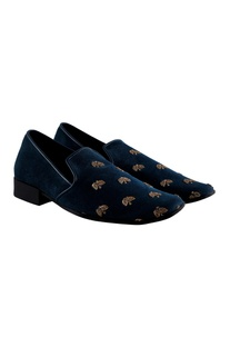 Zardozi embroidered suede loafers