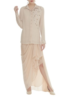 Pearl & sequin embroidered shirt with draped skirt