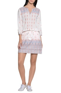 Embroidered short dress with drawstring
