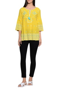 Flared sleeves embroidered top