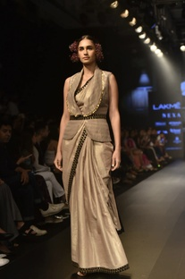 Embellished tissue sari with jacket blouse