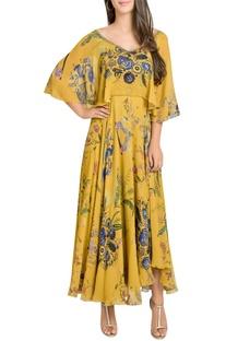 Printed cape sleeves midi dress