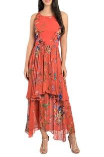 Double layered printed midi dress