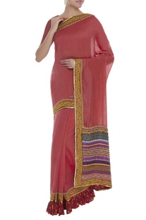Sequin hand embroidered Saree & Blouse