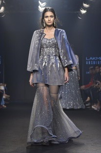 Cape with embroidered peplum tunic & pants