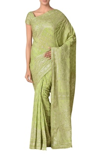 Embroidered silk sari with unstitched blouse