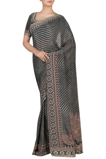 Silk chinon sari with blouse