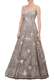 Crystal embellished tulle tulip gown