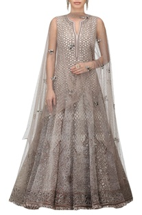 Micro-velvet aari hand embroidered gown with dupatta