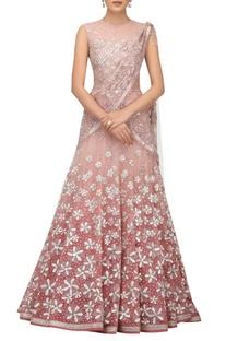Tulle resham & cutdana embroidered lehenga sari set