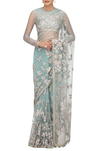 Hand embroidered gota & crystal sari with blouse